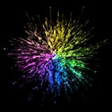 Partículas coloridas estouradas no fundo preto ilustração royalty free