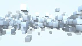 Partículas da forma do cubo transparentes rendição 3d Foto de Stock Royalty Free