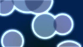 Partículas de brilho de néon grandes dadas laços no fundo escuro ilustração stock