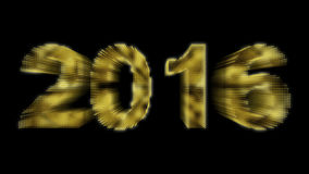 Partículas de brilho do ano novo 2016 no fundo preto Imagens de Stock