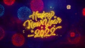 Partículas de cumprimento da faísca do texto do ano novo 2022 em fogos de artifício coloridos