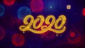 2020 partículas de cumprimento da faísca do texto do ano novo em fogos de artifício coloridos