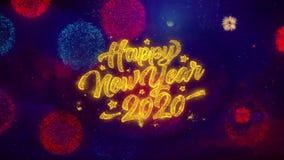2020 partículas de cumprimento da faísca do texto do ano novo feliz em fogos de artifício coloridos