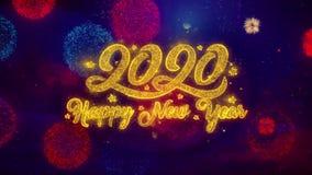 Partículas de cumprimento da faísca do texto do ano novo feliz 2020 em fogos de artifício coloridos