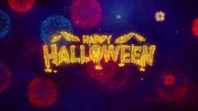 Partículas de cumprimento felizes da faísca do texto de Dia das Bruxas em fogos de artifício coloridos