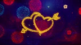 Part?culas de la chispa del coraz?n del amor del d?a de tarjeta del d?a de San Valent?n en los fuegos artificiales coloreados stock de ilustración
