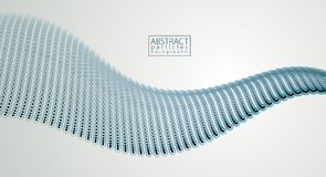 Partículas de la energía que fluyen, onda de puntos borrosos y círculos blur stock de ilustración