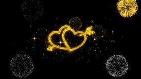 Partículas de oro del centelleo del corazón del amor del día de tarjeta del día de San Valentín con la exhibición de oro de los f stock de ilustración