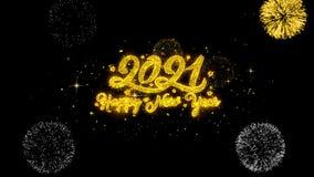 Partículas de oro del centelleo del texto del Año Nuevo 2021 con la exhibición de oro de los fuegos artificiales stock de ilustración