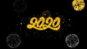 2020 partículas de oro del centelleo del texto del Año Nuevo con la exhibición de oro de los fuegos artificiales stock de ilustración