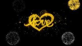Partículas de oro del centelleo del texto del corazón de día de San Valentín del amor con la exhibición de oro de los fuegos arti stock de ilustración