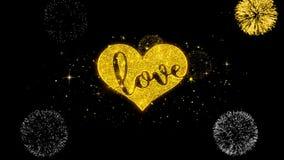 Partículas de oro del centelleo del texto del corazón romántico del amor de las tarjetas del día de San Valentín con la exhibició ilustración del vector