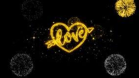 Partículas de oro del centelleo del texto de día de San Valentín del corazón del amor con la exhibición de oro de los fuegos arti ilustración del vector