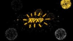 Partículas de oro del centelleo del texto del día de tarjeta del día de San Valentín de XOXO con la exhibición de oro de los fueg libre illustration