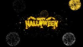 Partículas de oro del centelleo del texto del feliz Halloween con la exhibición de oro de los fuegos artificiales