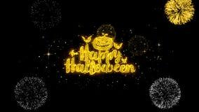 Partículas de oro del centelleo del texto del feliz Halloween con la exhibición de oro 1 de los fuegos artificiales