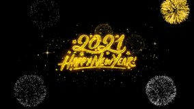 Partículas de oro del centelleo del texto de la Feliz Año Nuevo 2021 con la exhibición de oro de los fuegos artificiales stock de ilustración