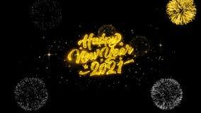 2021 partículas de oro del centelleo del texto de la Feliz Año Nuevo con la exhibición de oro de los fuegos artificiales stock de ilustración