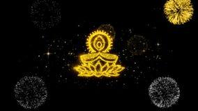 Partículas de oro del centelleo del texto de la lámpara del diya de Deepak con la exhibición de oro de los fuegos artificiales