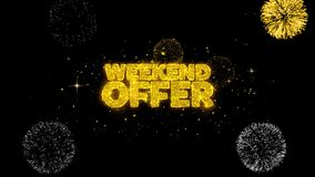 Partículas de oro del centelleo del texto de la oferta del fin de semana con la exhibición de oro de los fuegos artificiales