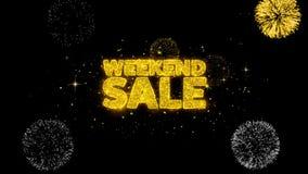 Partículas de oro del centelleo del texto de la venta de fin de semana con la exhibición de oro de los fuegos artificiales