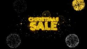 Partículas de oro del centelleo del texto de la venta de la Navidad con la exhibición de oro de los fuegos artificiales