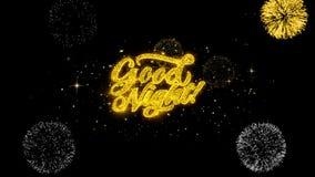 Part?culas de oro del centelleo del texto de las buenas noches con la exhibici?n de oro de los fuegos artificiales stock de ilustración