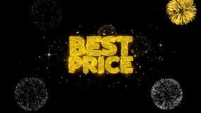 Partículas de oro del centelleo del texto del mejor precio con la exhibición de oro de los fuegos artificiales almacen de video
