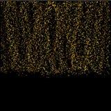 Partículas de queda do ouro no fundo preto Fotografia de Stock