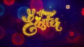 Partículas de saludo felices de la chispa del texto de Pascua en los fuegos artificiales coloreados