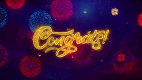Partículas de saludo de la chispa del texto de Congrats en los fuegos artificiales coloreados