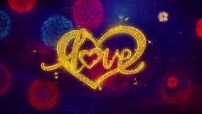 Partículas de saludo de la chispa del texto del corazón de día de San Valentín del amor en los fuegos artificiales coloreados stock de ilustración