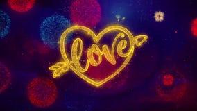 Partículas de saludo de la chispa del texto de día de San Valentín del corazón del amor en los fuegos artificiales coloreados libre illustration