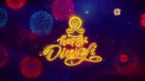 Partículas de saludo de la chispa del texto del diya feliz del diwali en los fuegos artificiales coloreados
