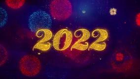 2022 partículas de saludo de la chispa del texto de la Feliz Año Nuevo en los fuegos artificiales coloreados
