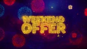 Partículas de saludo de la chispa del texto de la oferta del fin de semana en los fuegos artificiales coloreados stock de ilustración
