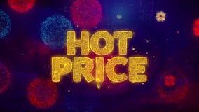 Partículas de saludo de la chispa del texto del precio caliente en los fuegos artificiales coloreados