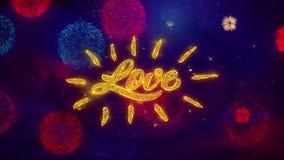 Partículas de saludo de la chispa del texto de tarjeta del día de San Valentín del amor feliz del día en los fuegos artificiales  stock de ilustración