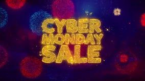 Partículas de saludo de la chispa del texto de la venta cibernética de lunes en los fuegos artificiales coloreados