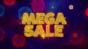 Partículas de saludo de la chispa del texto de la venta mega en los fuegos artificiales coloreados