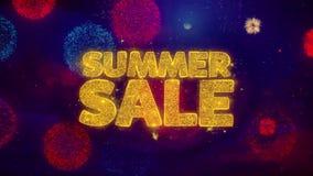 Partículas de saludo de la chispa del texto de la venta del verano en los fuegos artificiales coloreados