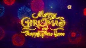 Partículas de saludo de la chispa de la Feliz Navidad y del texto del Año Nuevo en la exhibición de los fuegos artificiales 2