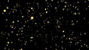 Partículas del centelleo del oro que fluyen en fondo negro stock de ilustración
