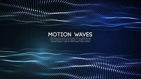 partículas digitais abstratas de incandescência da onda 3D Ilustração futurista do vetor Elemento de HUD Conceito da tecnologia S ilustração do vetor