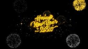 2020 partículas douradas piscar do texto do ano novo feliz com exposição dourada dos fogos de artifício