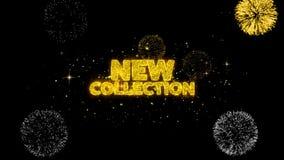 Partículas douradas piscar do texto da coleção nova com exposição dourada dos fogos de artifício