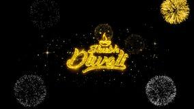 Partículas douradas piscar do texto do diwali feliz do diwali de Shubh com exposição dourada dos fogos de artifício