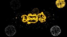 Partículas douradas piscar do texto do diwali feliz de Shubh com exposição dourada dos fogos de artifício