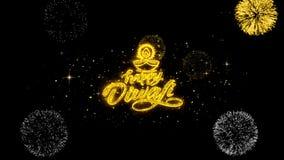 Partículas douradas piscar do texto do diya feliz do diwali com exposição dourada dos fogos de artifício