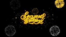 Partículas douradas piscar do texto dos cumprimentos das estações com exposição dourada dos fogos de artifício